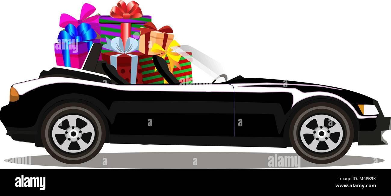 Luxury Black Modern Cartoon Cabriolet Car Full Of Gift Boxes