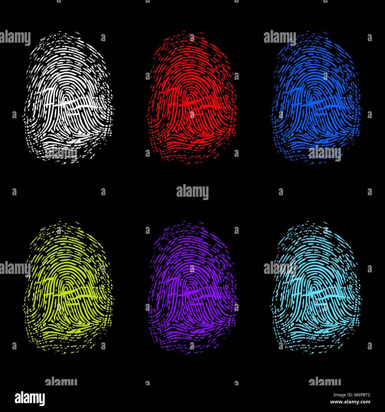 Set of color fingerprints on black background - Stock Vector