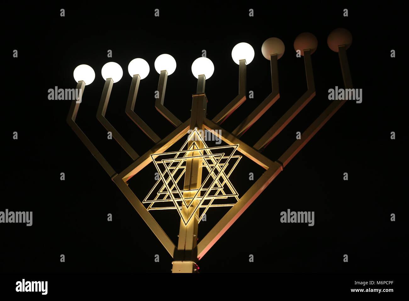 A Hanukkiah, A Menorah with nine branches - Stock Image