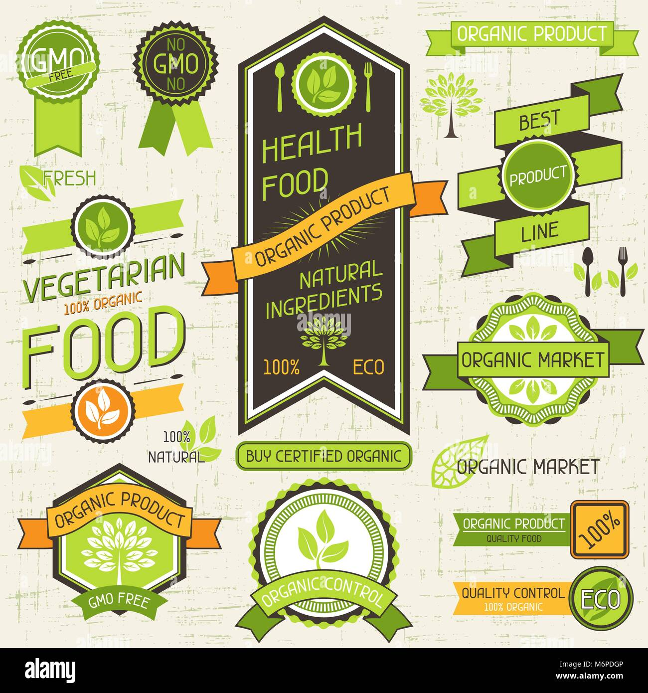 Organic food banners. Set of labels and stickers - Stock Vector