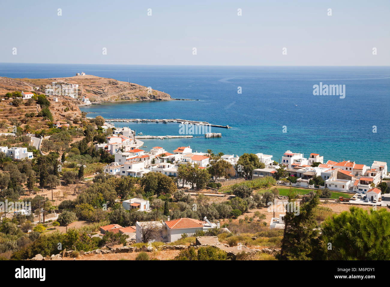 Korthi Bay and Ormos Korthiou village, Andros island, Cyclades islands, Aegean sea, Greece, Europe Stock Photo