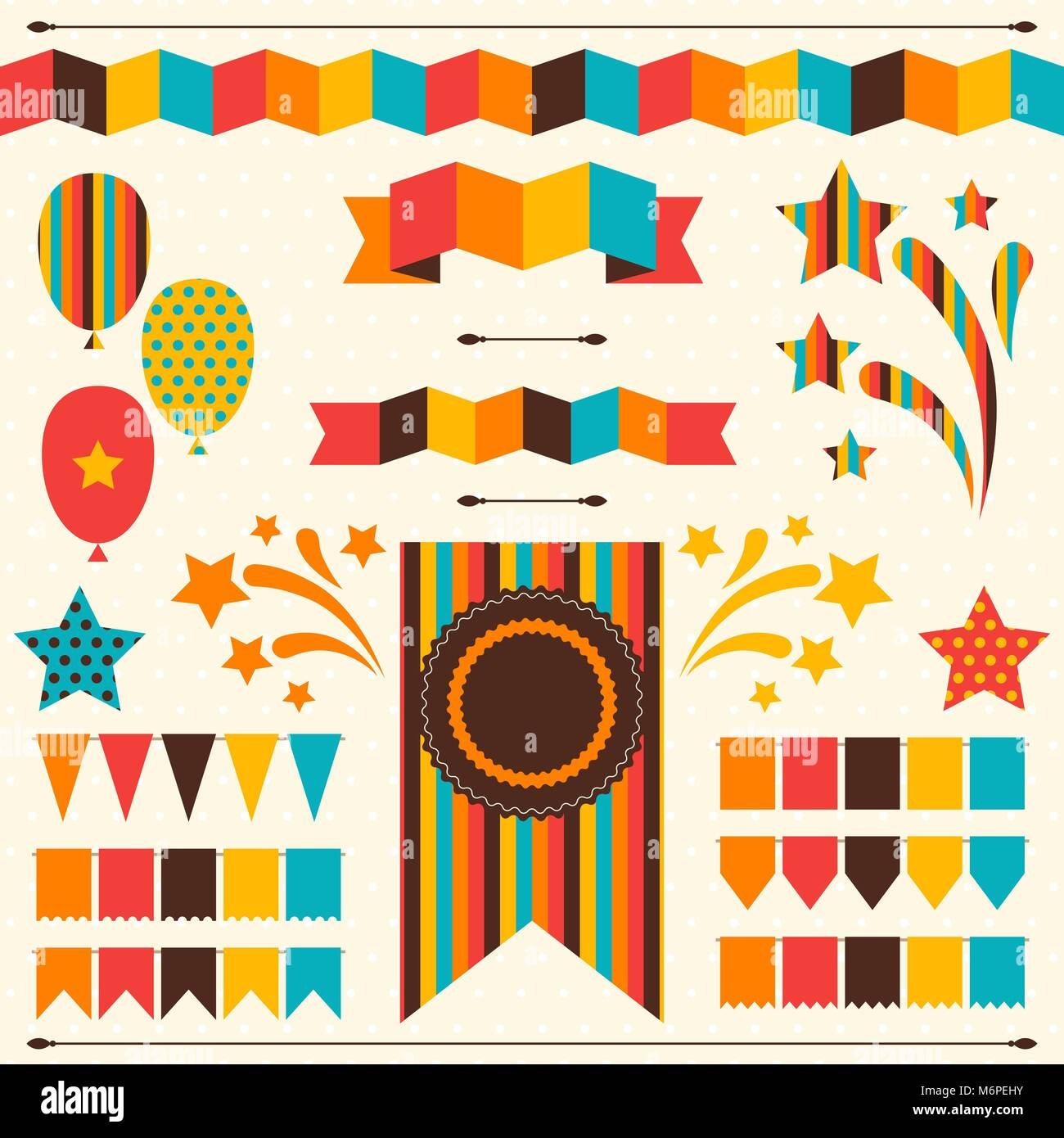 Collection of decorative elements for holiday - Stock Vector