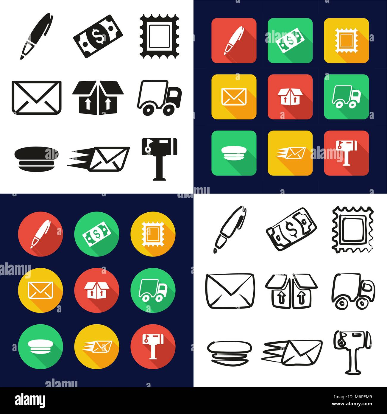 Post Office All in One Icons Black & White Color Flat Design Freehand Set - Stock Image