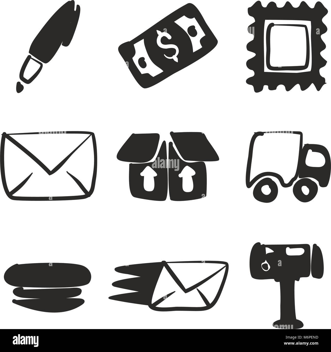 Post Office Icons Freehand Fill - Stock Image