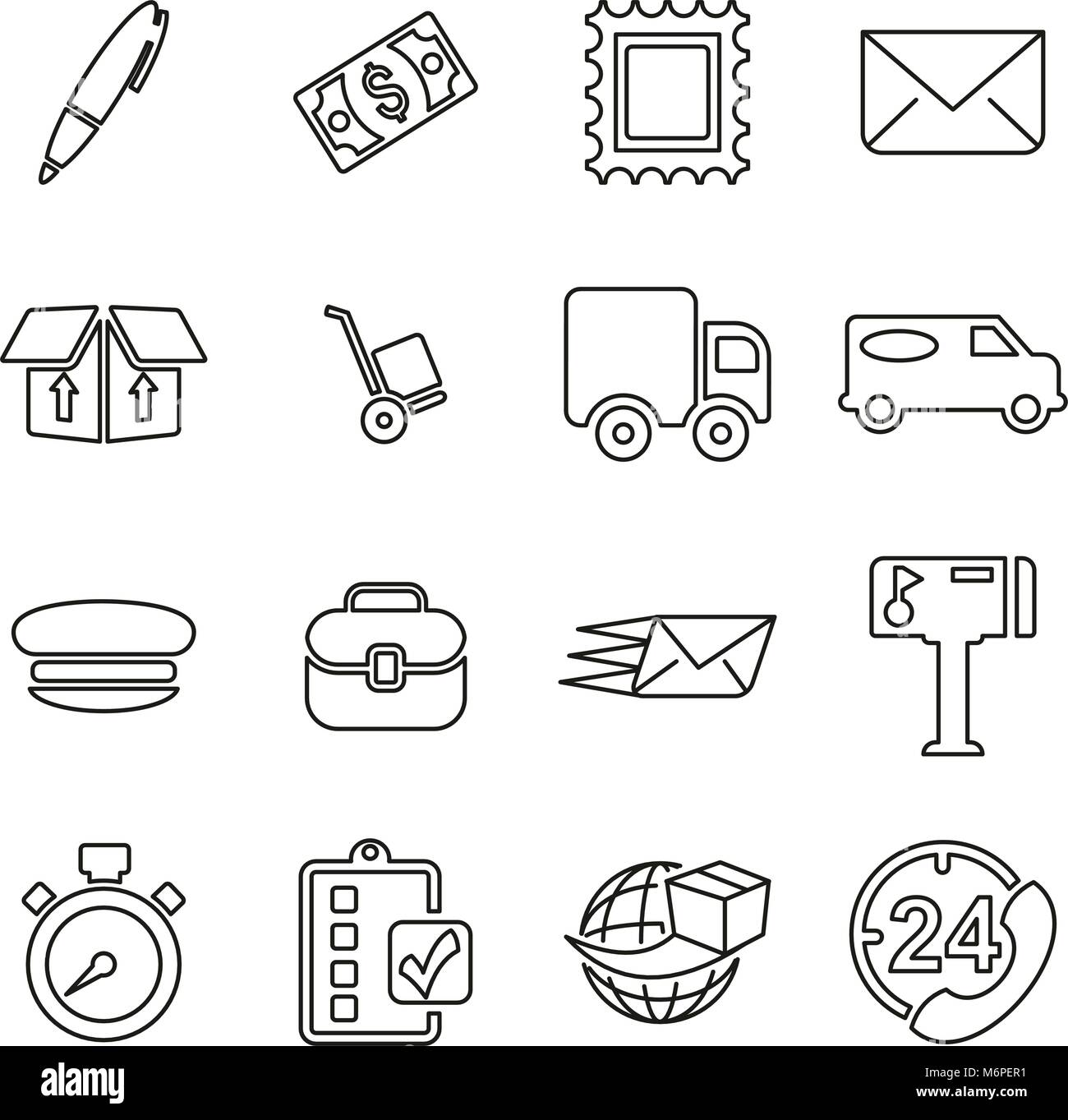Post Office or Mail Man or Delivery Service Icons Thin Line Vector Illustration Set - Stock Image