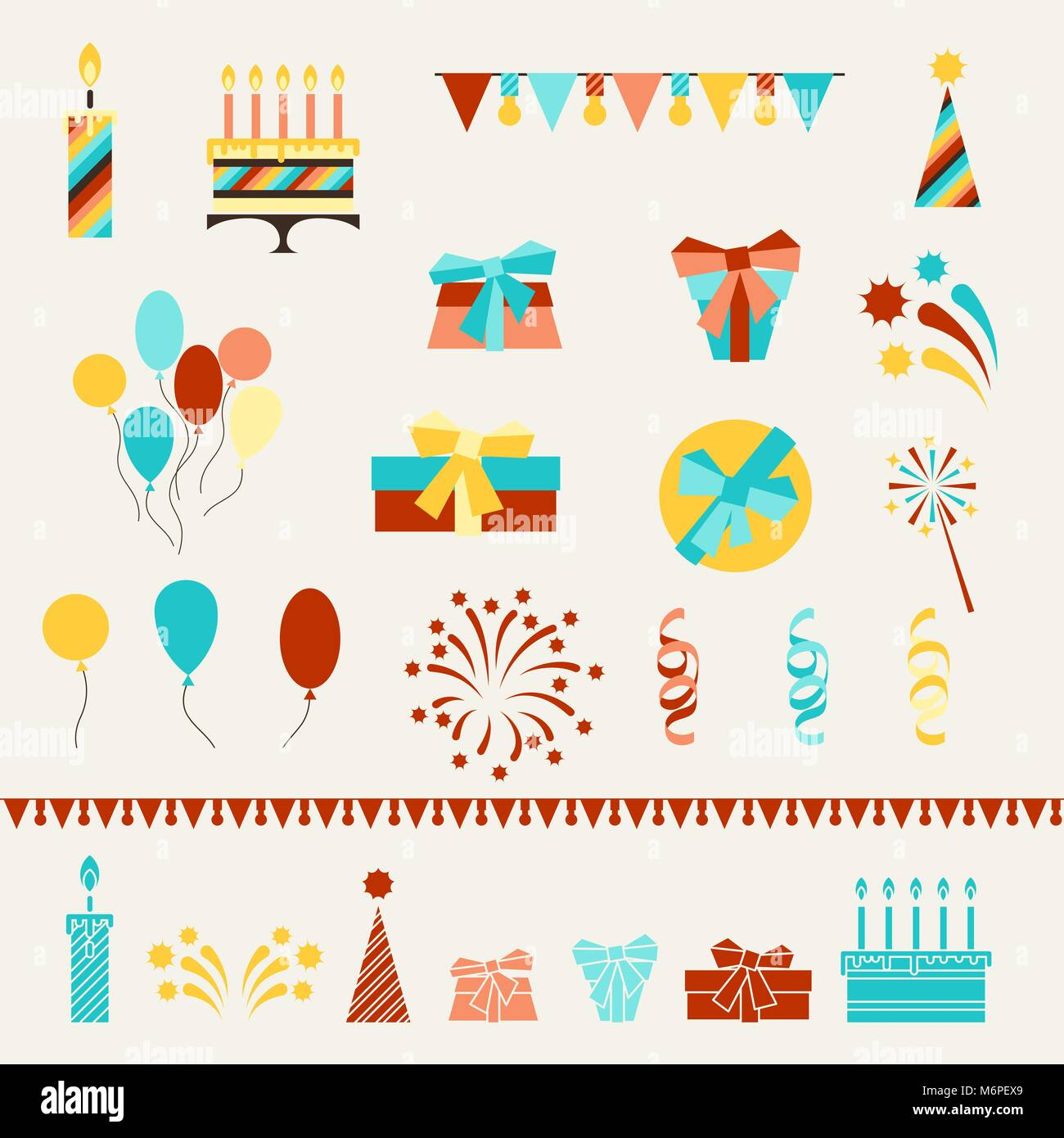 Happy Birthday party icons set - Stock Vector