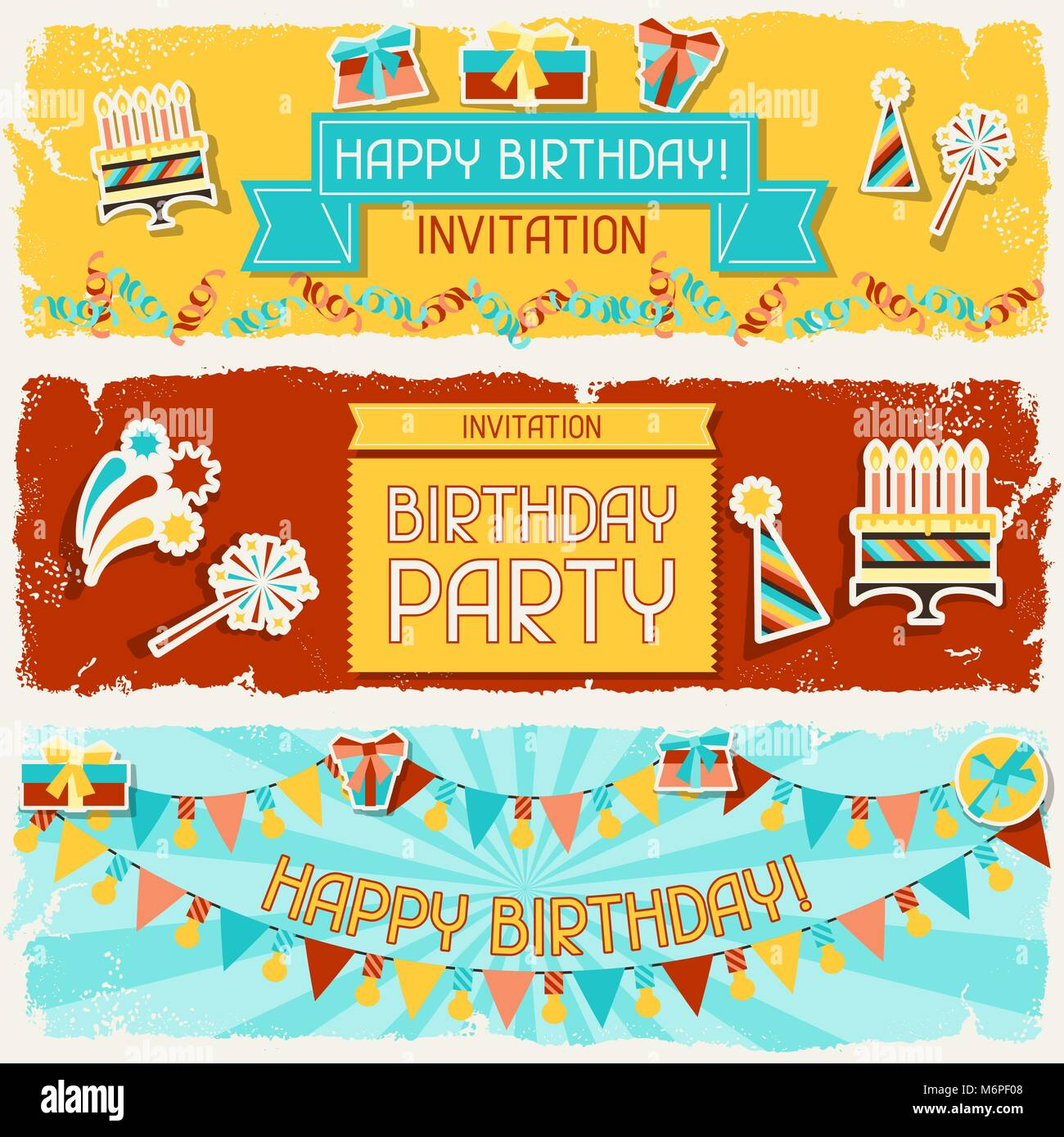 Happy Birthday horizontal banners - Stock Vector