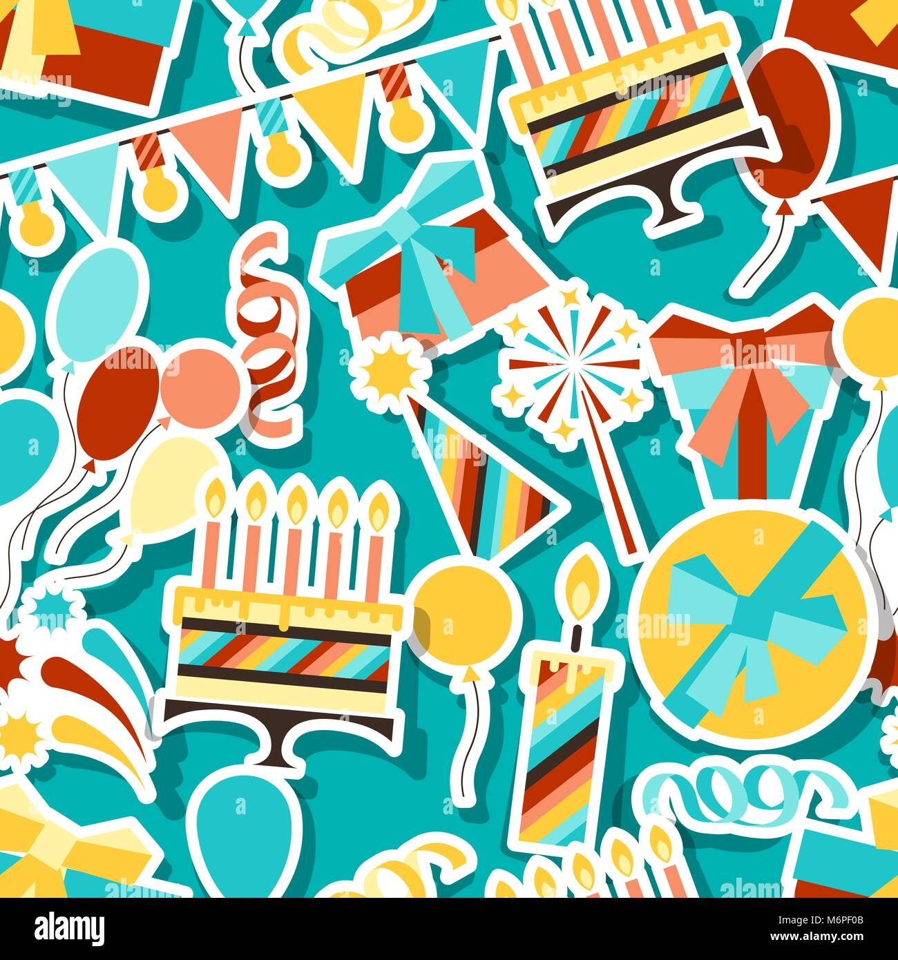 Happy Birthday party seamless pattern - Stock Vector