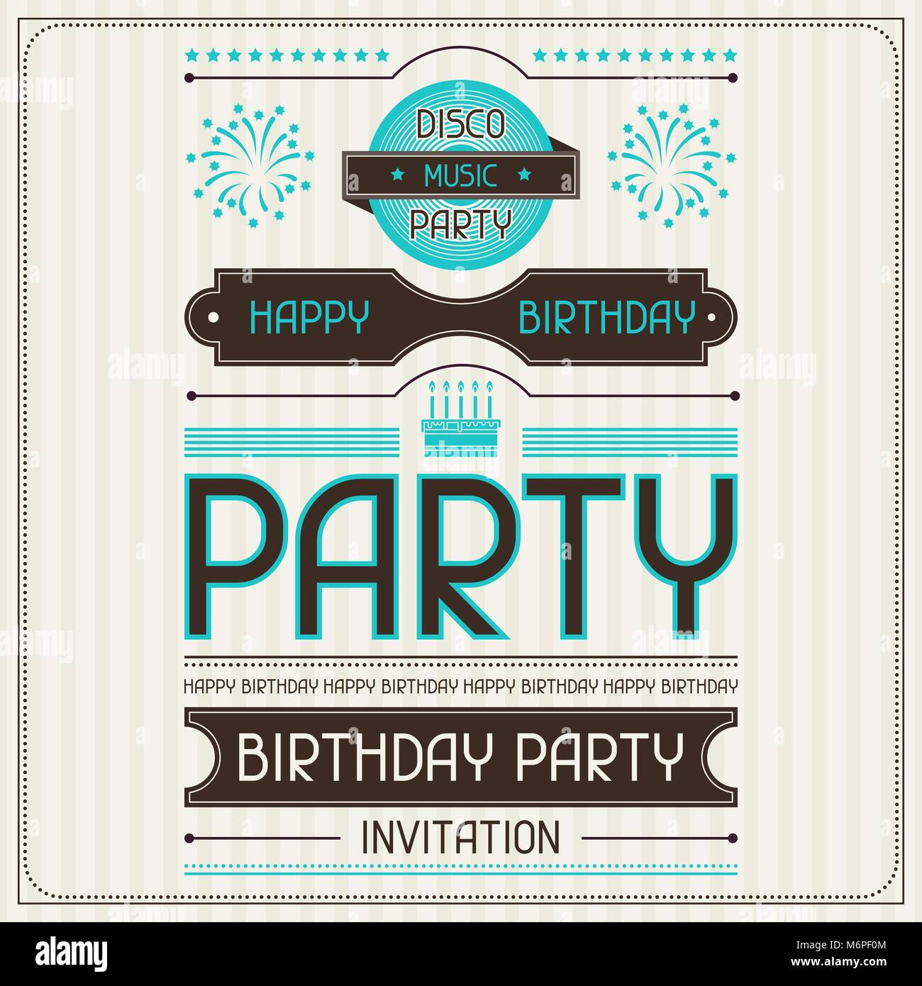 Invitation card for birthday in retro style - Stock Image