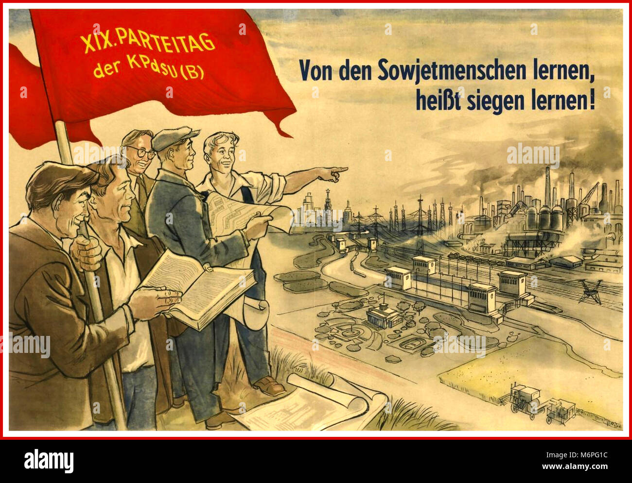 German Vintage Propaganda Poster Post War Germany 1950s Communists planning rebuilding Dresden 'Learning from - Stock Image
