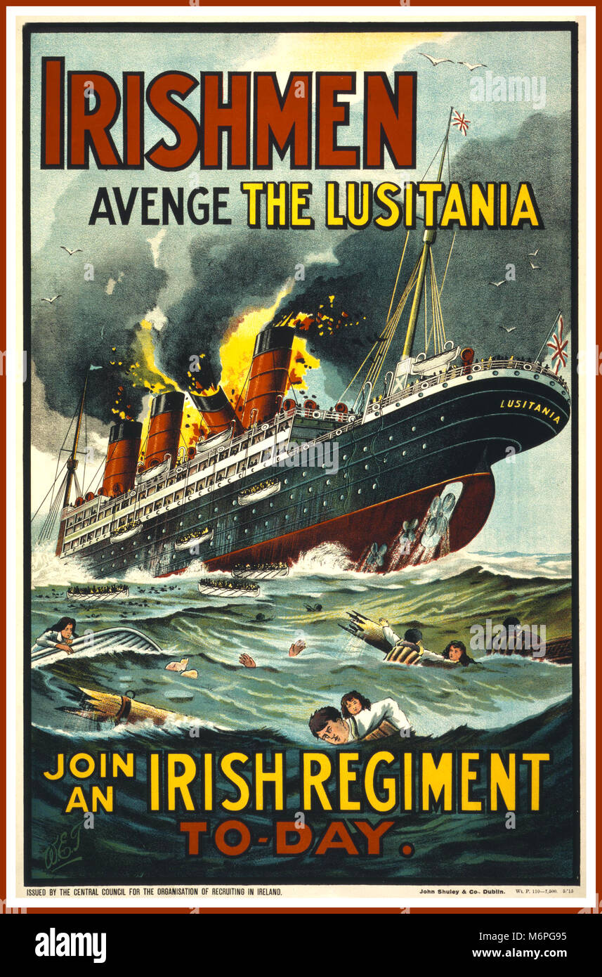 Vintage 1900's WW1 Propaganda poster showing the infamous sinking in 1915 by German U-Boat of The Lusitania. - Stock Image