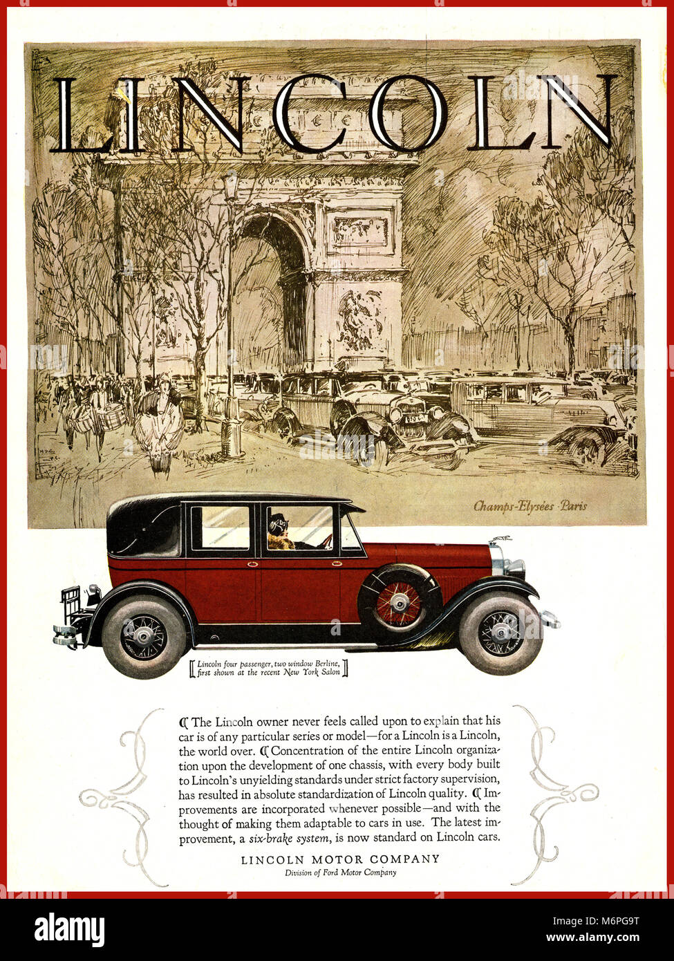 Vintage 1927 LINCOLN American Car Automobile advertisement with Arc de Triomphe Paris France stylised behind. Page - Stock Image
