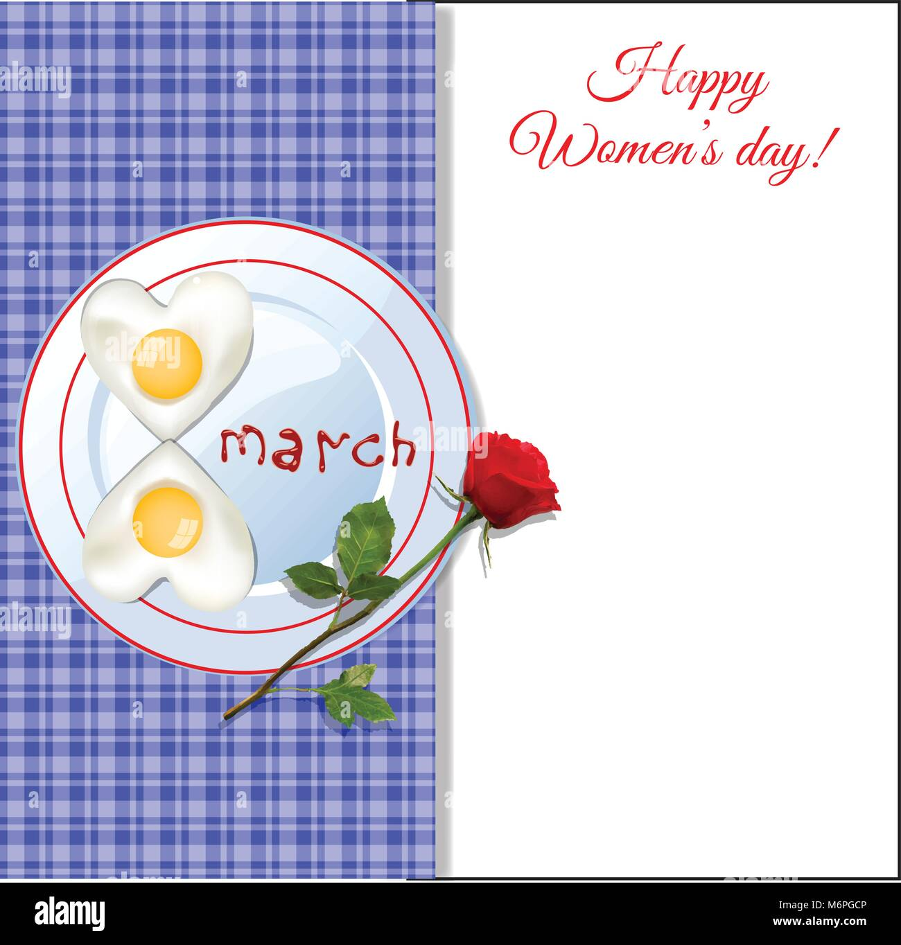 8 march happy women's day template with number eight shaped fried eggs on plate with ketchup letters  and red - Stock Vector