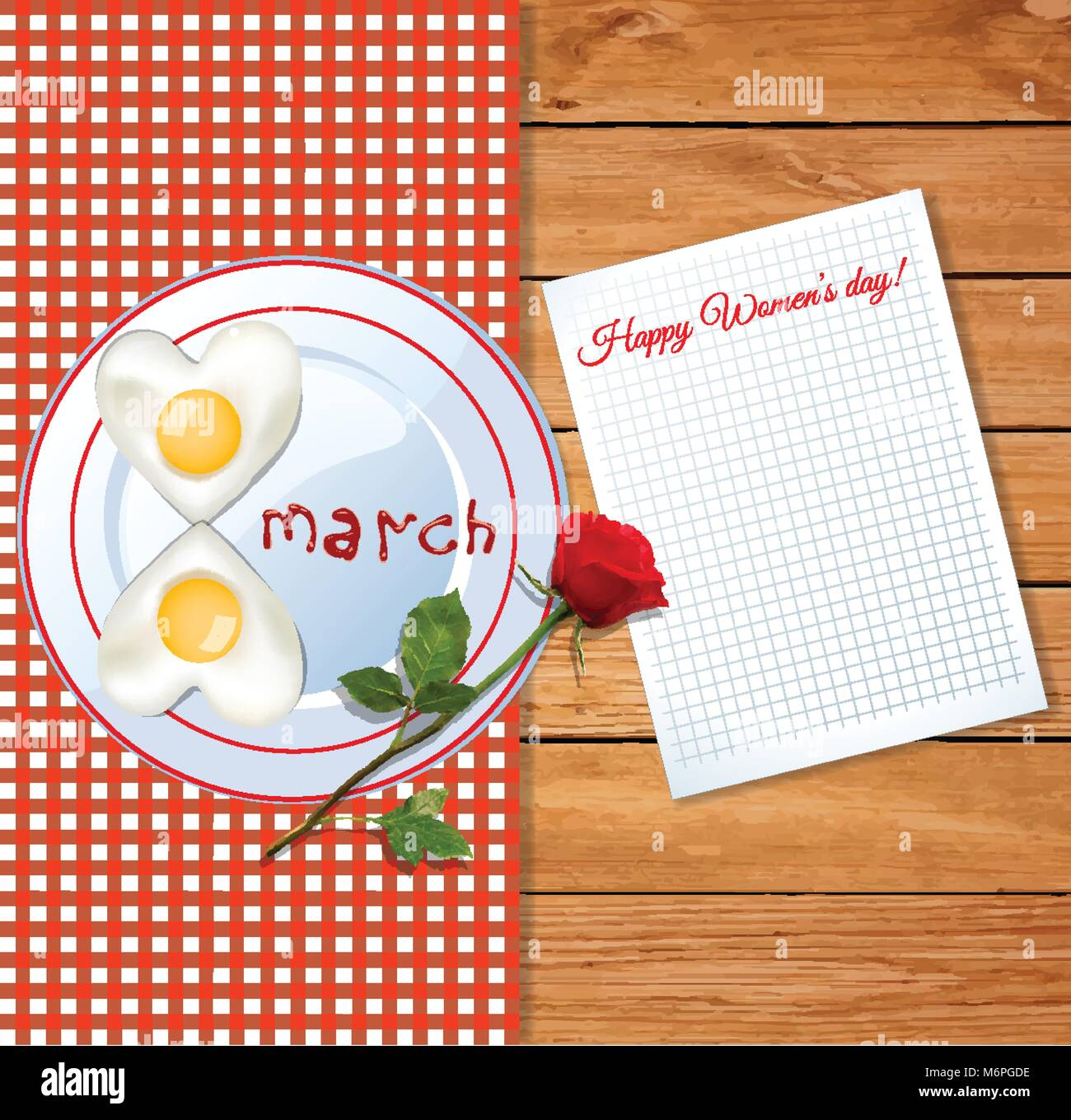 Happy womens day greeting card with number eight shaped omelet on plate with ketchup letters 8 march and red rose - Stock Vector