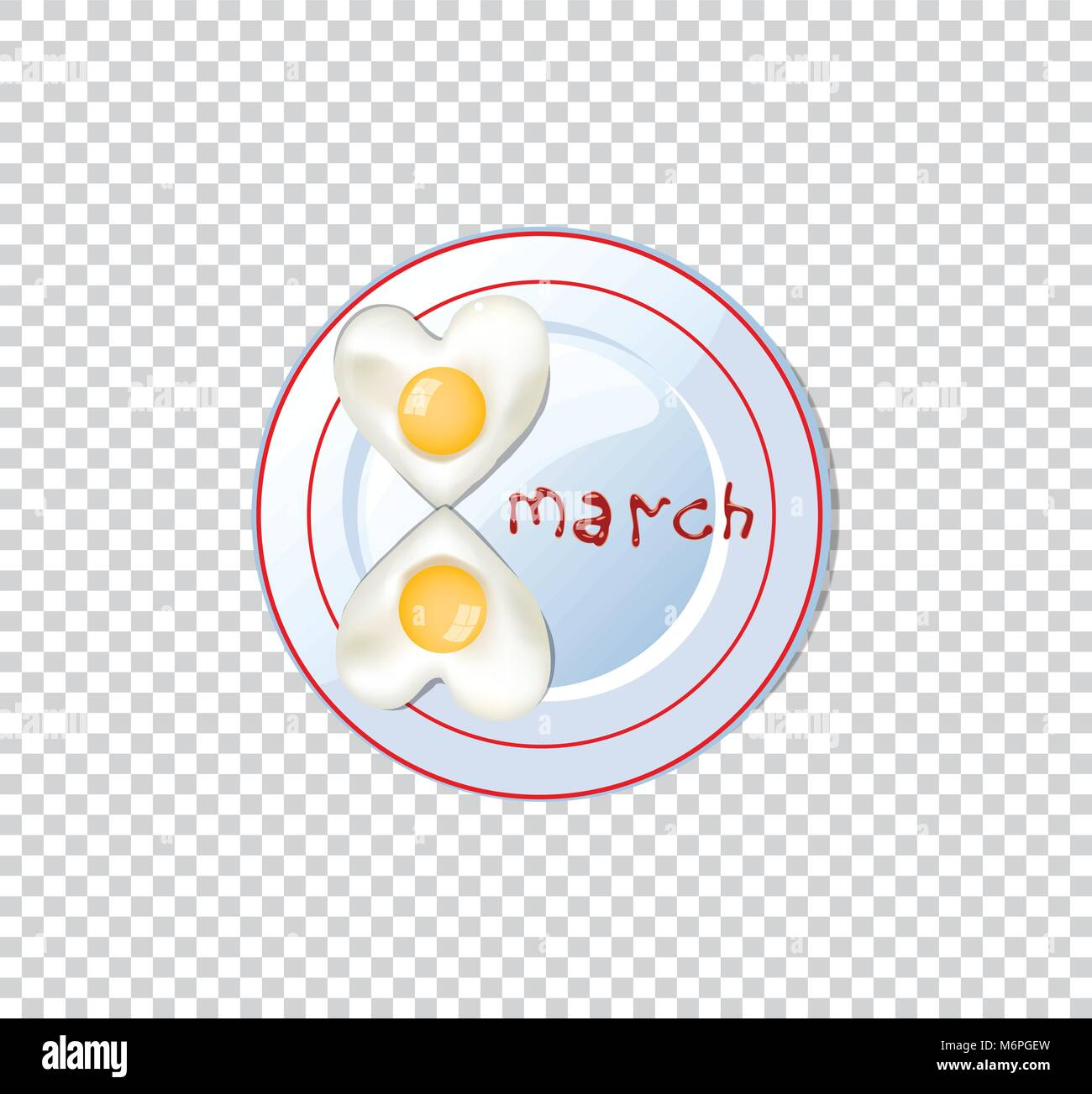Happy women's day vector illustration, clip art with number eight shaped heart omelette on plate with ketchup - Stock Vector