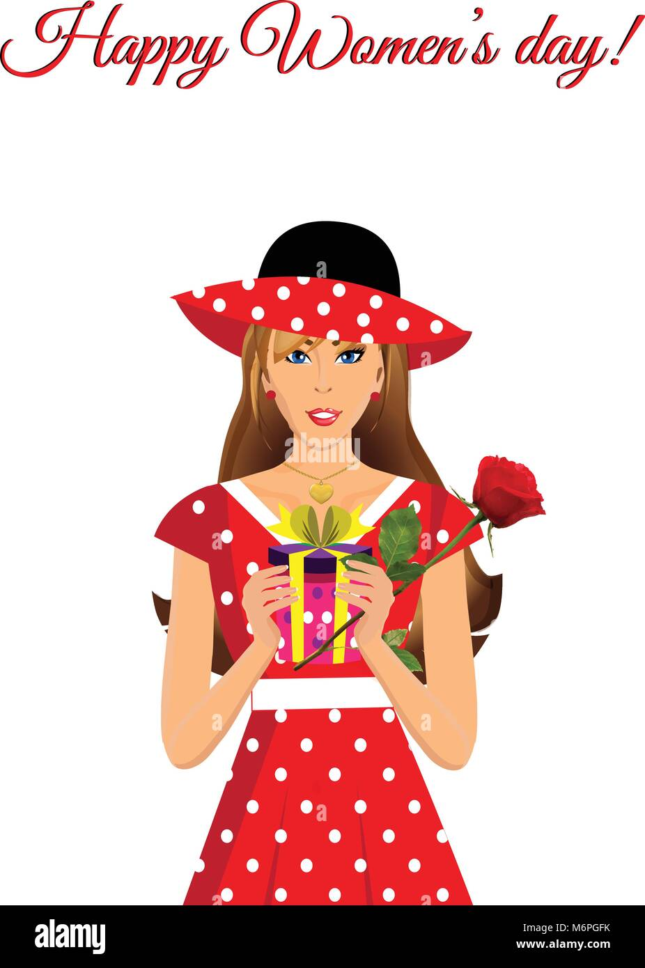 Happy women s day greeting card with cute adorable girl in red dress with polka  dots print and hat holding gift and beautiful rose in hands isolated o 0d08a18f8