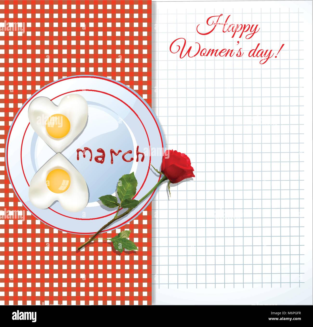 Happy women's day greeting card with number eight shaped fried eggs on plate with ketchup letters 8 march and - Stock Vector