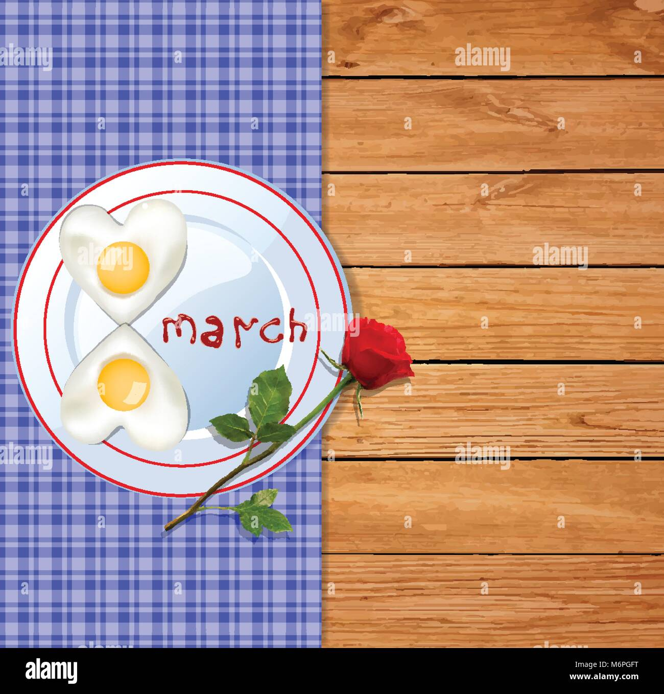 Happy womens day template with number eight shaped omelette on plate with ketchup 8 march letters and red rose on - Stock Vector