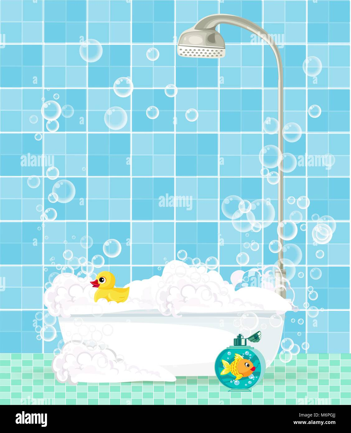 Cute Cartoon Bathroom Interior With Bathtub Full Of Foam Soap Bubbles Bottle Shampoo Rubber Duck On Blue Tiled Background Comfortable Equipmen