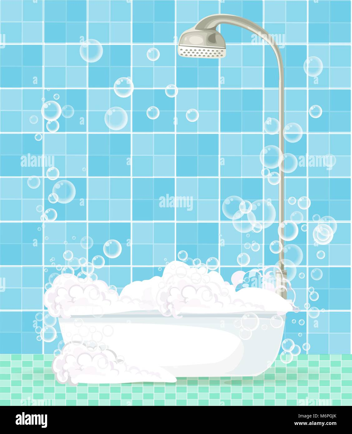 Cute Cartoon Template With Bathroom Interior Bathtub Full Of Foam Floating Soap Bubbles And Copy Space On Blue Tiled Background Comfortable Equipme