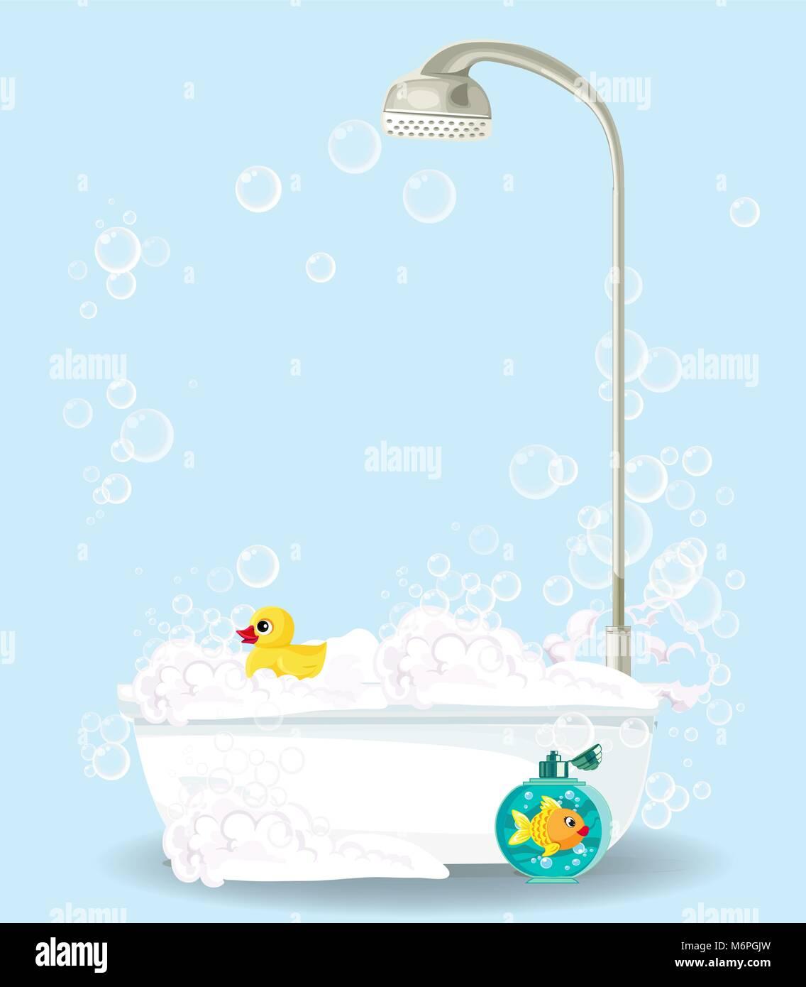 Cute cartoon illustration of bathtub full of foam, soap bubbles ...