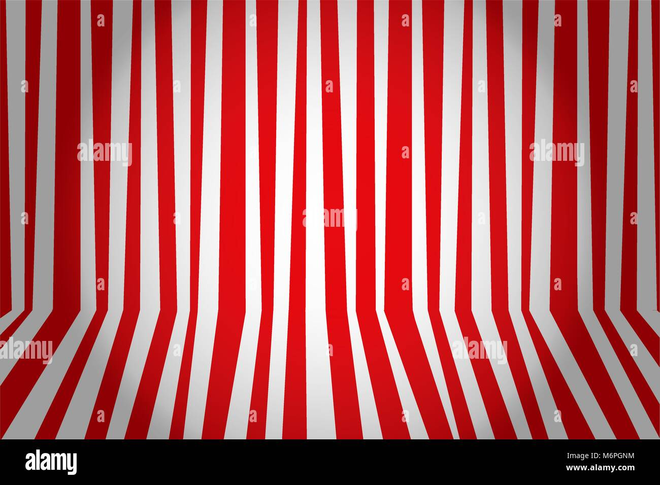 Christmas and new year background striped room in red and white. Vector illustration. - Stock Vector