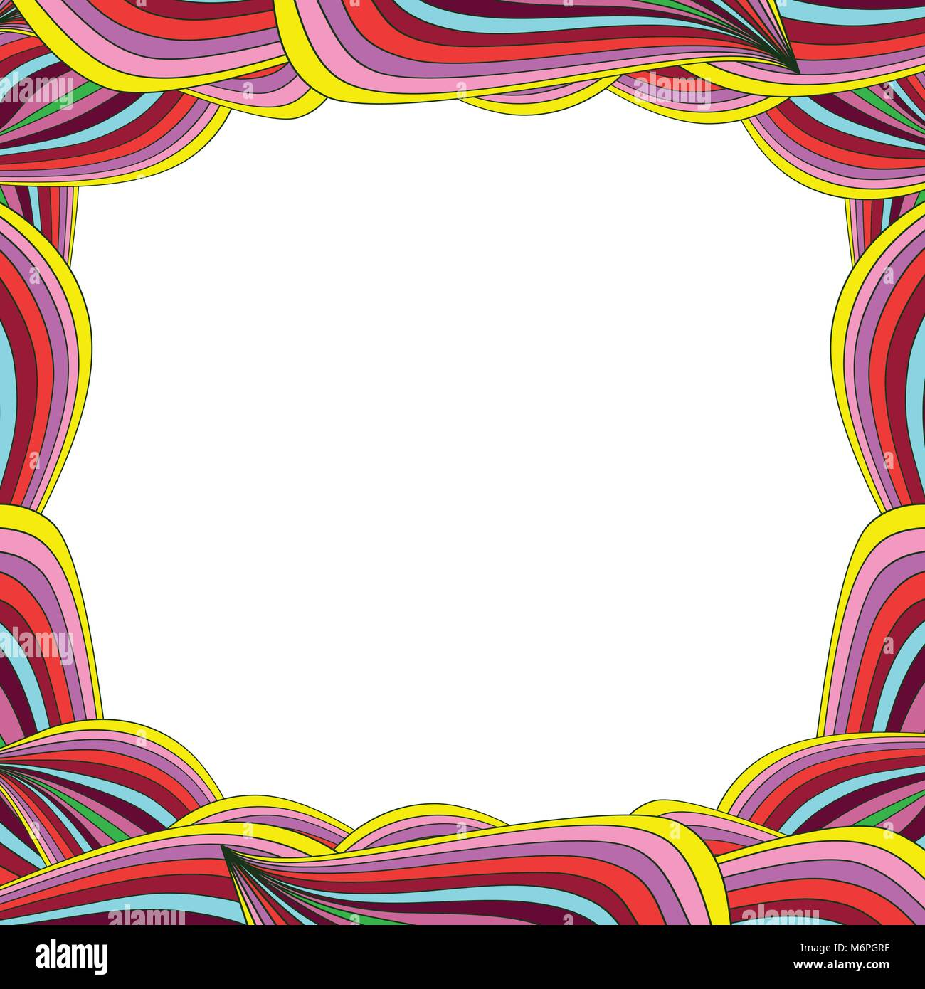 Bright multicolored frame with rainbow wavy lines and space for text ...