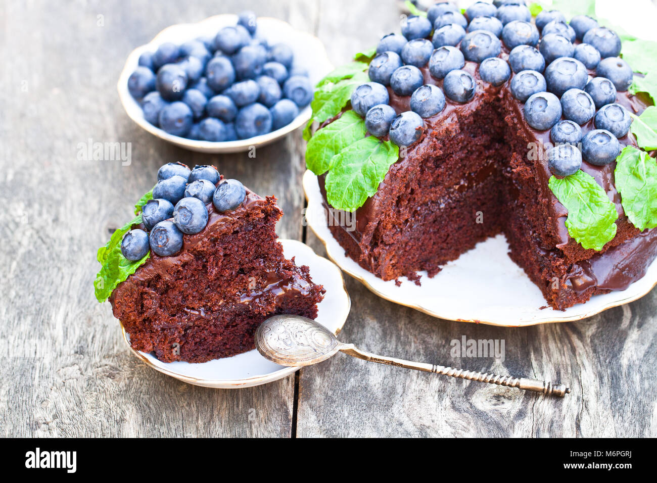 Chocolate  cake with chocolate cream and fresh blueberries and mint leaves - Stock Image