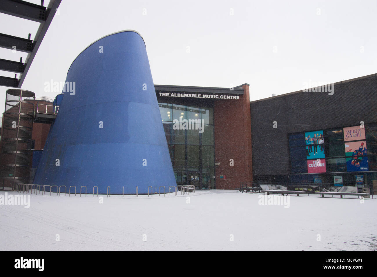 Snowy conditions at Albermarle Music Centre Hull East Yorkshire 28th February 2018 - Stock Image