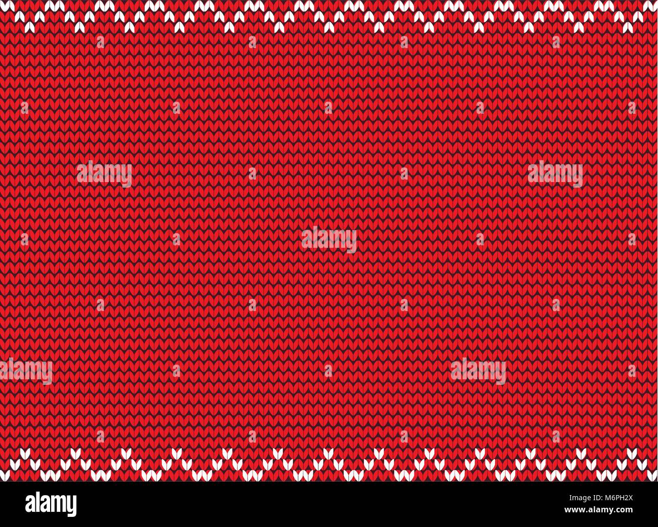 Vector illustration of red knitted background. Knitting pattern with ...