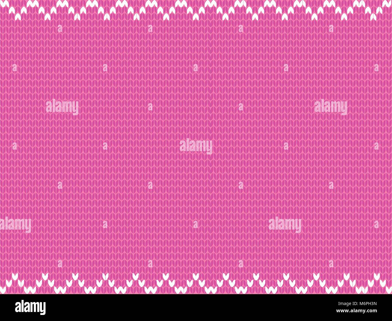 Cute baby pink knitted background framed with white weavy zig zag pattern. Vector illustration, border, template - Stock Vector