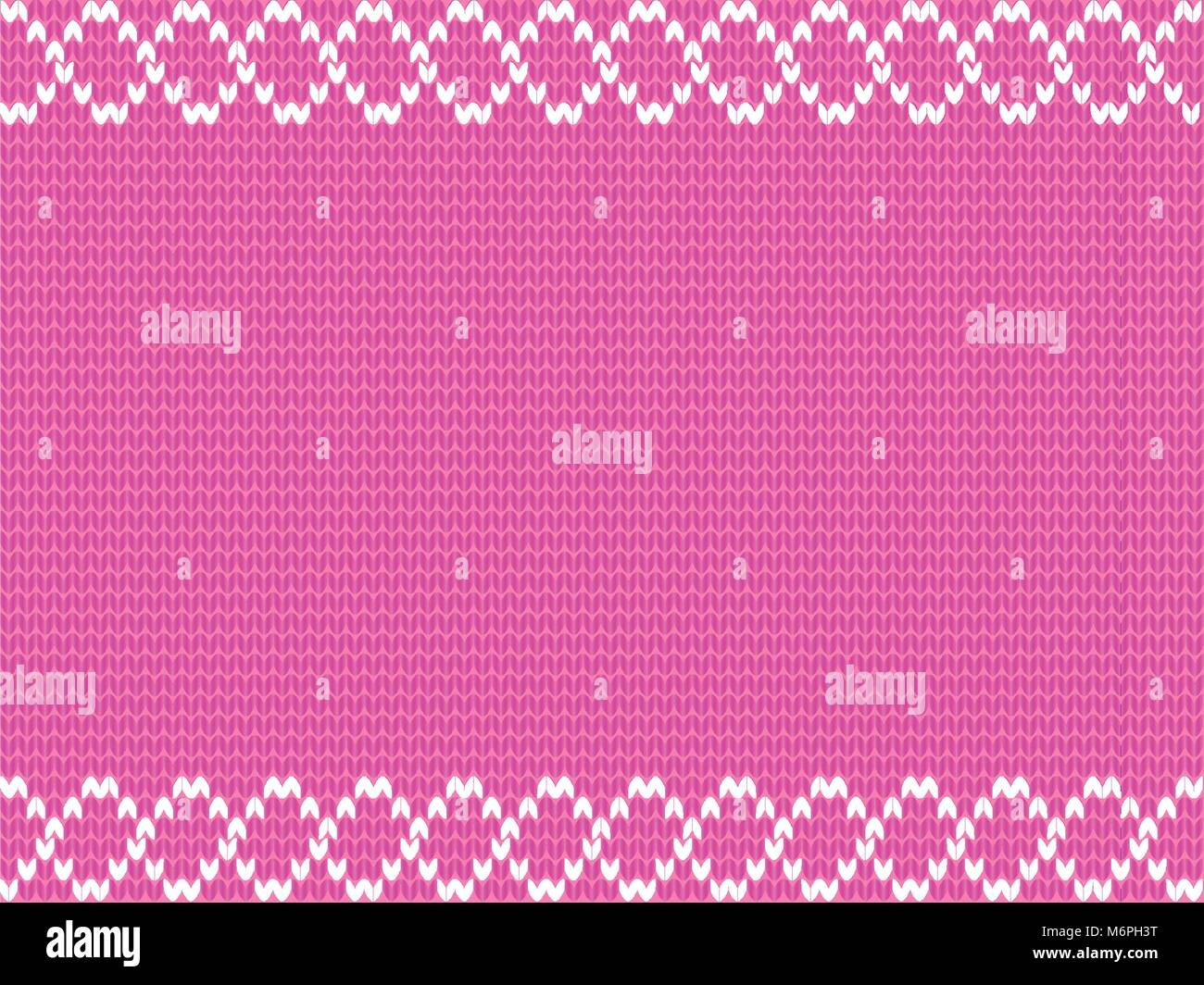 Cute baby pink knitting background framed with white weavy pattern. Vector illustration, border, template with space - Stock Vector