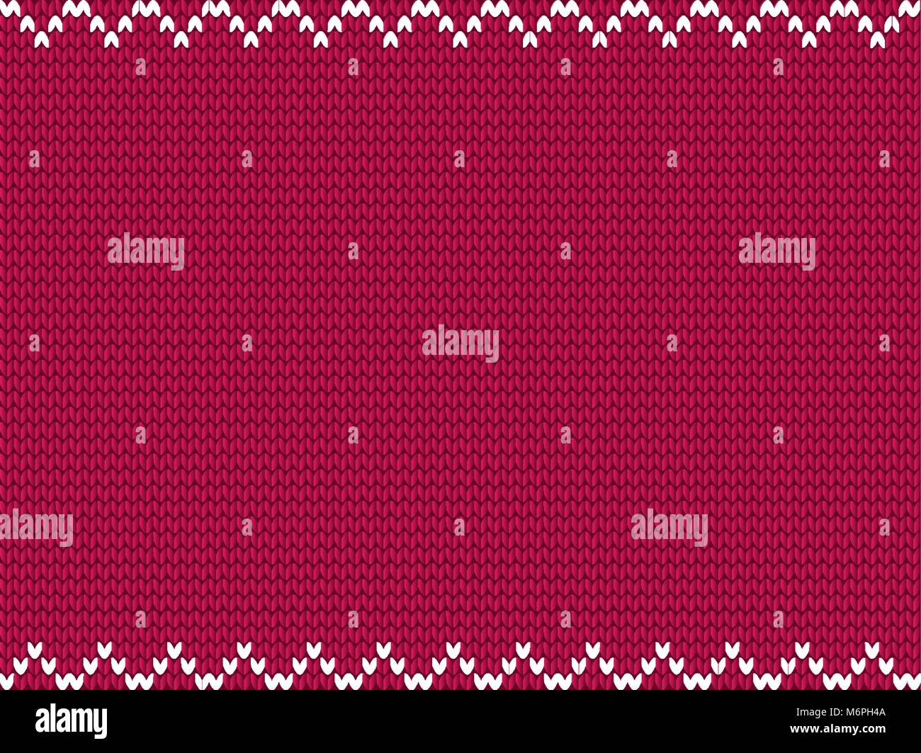 Burgundy knitted fabric background with white zig zag pattern. Vector illustration, template with space for text. - Stock Vector