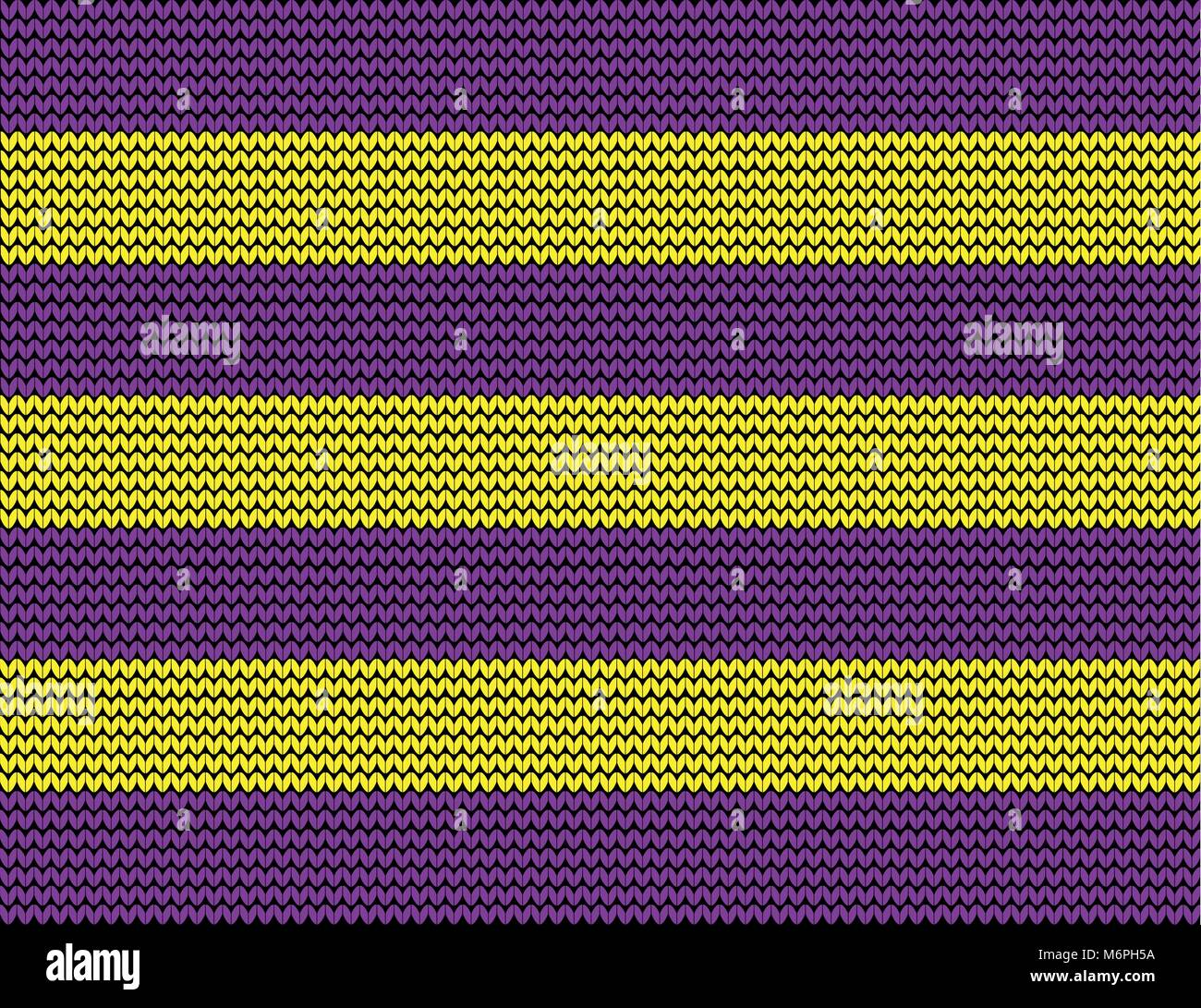 Striped yellow and violet fabric knit background, template. Vector illustration. - Stock Vector