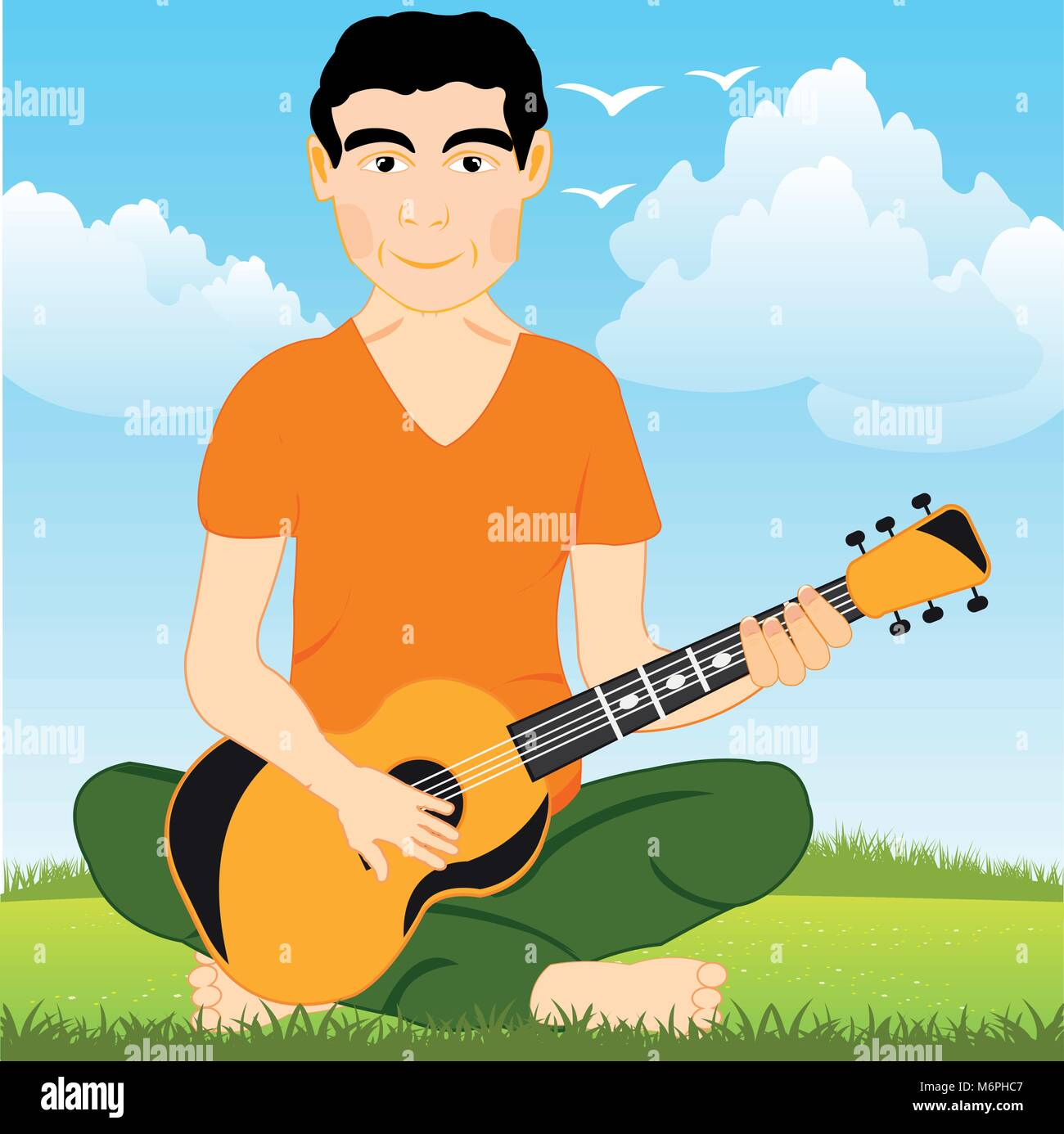 Man on glade plays on guitar - Stock Vector