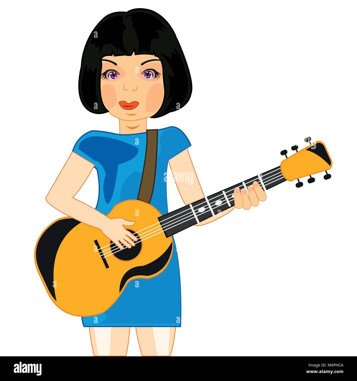 Girl plays on guitar - Stock Vector
