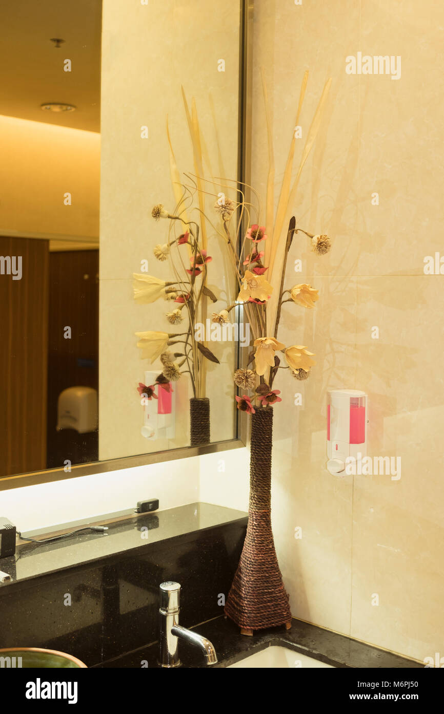 . Part of decoration corner inside public washroom  Interior design