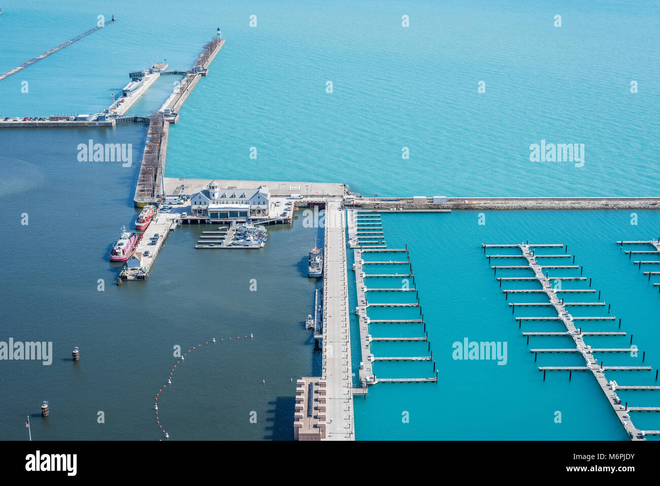 Aerial view of DuSable harbor where the Chicago River meets Lake Michigan - Stock Image