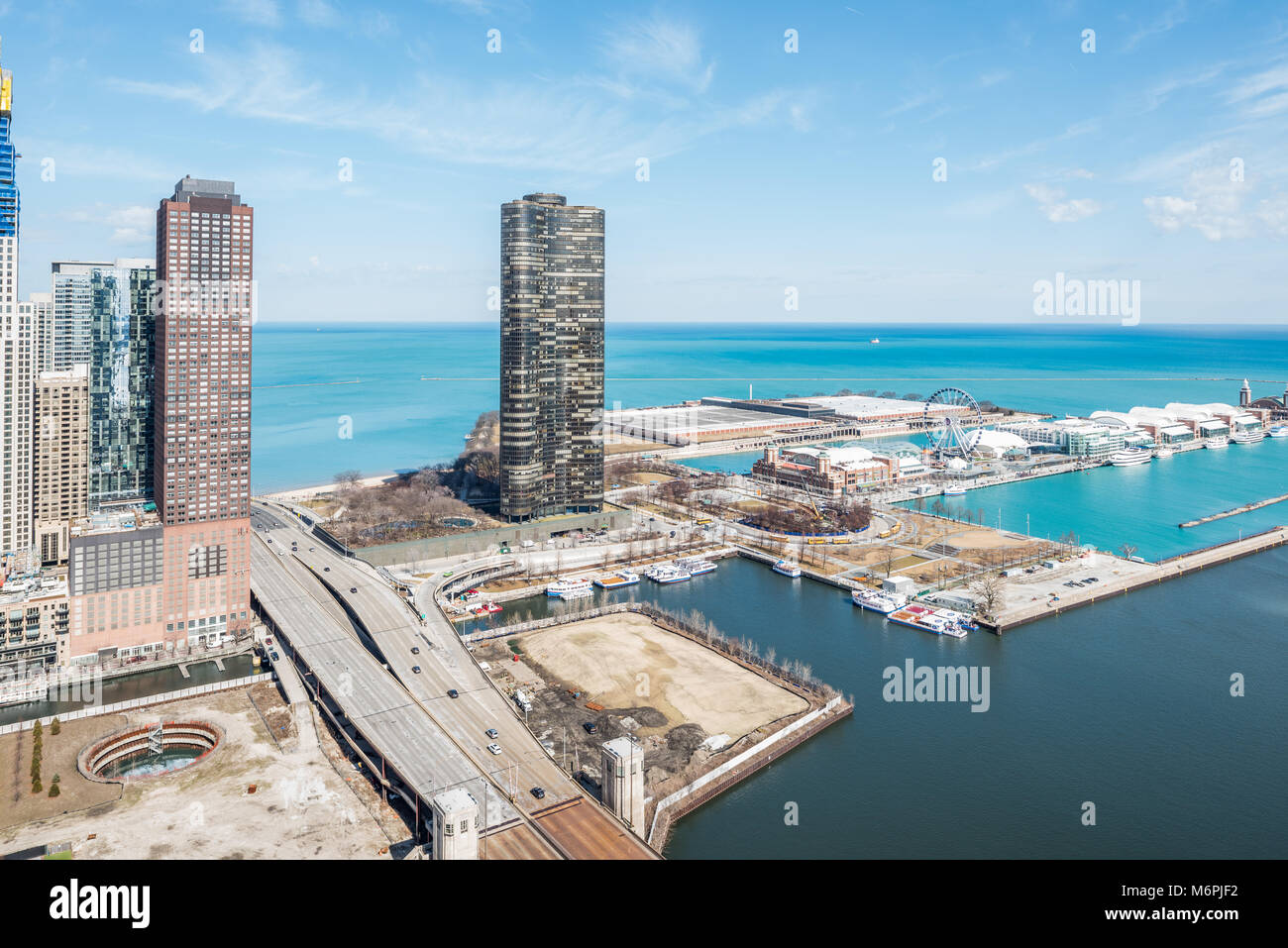 Aerial view of DuSable harbor where the Chicago River meets Lake Michigan Stock Photo