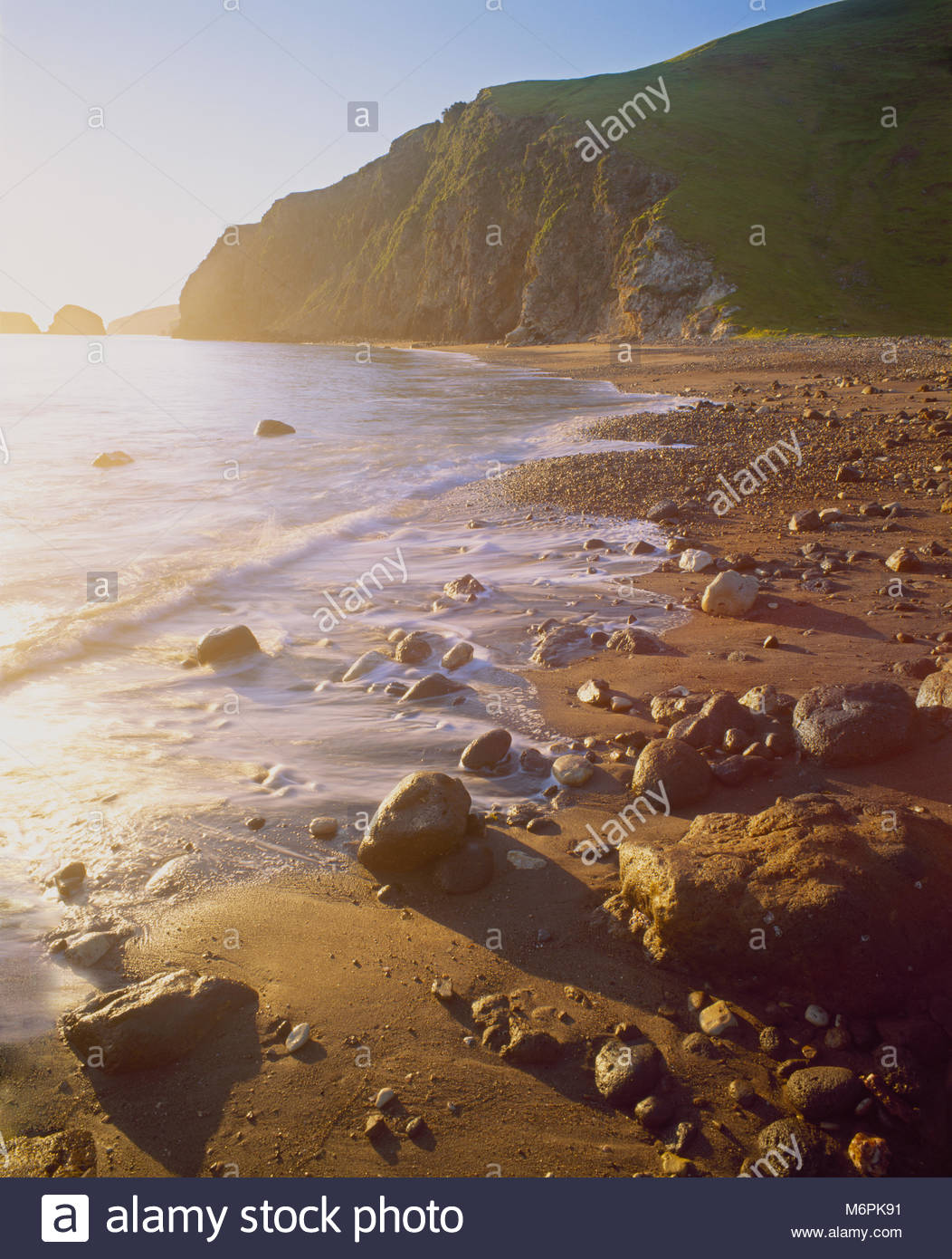 0603-3007  Copyright: George H.H. Huey Beach at Scorpion Anchorage at sunrise.  East end Santa Cruz Island, Channel - Stock Image