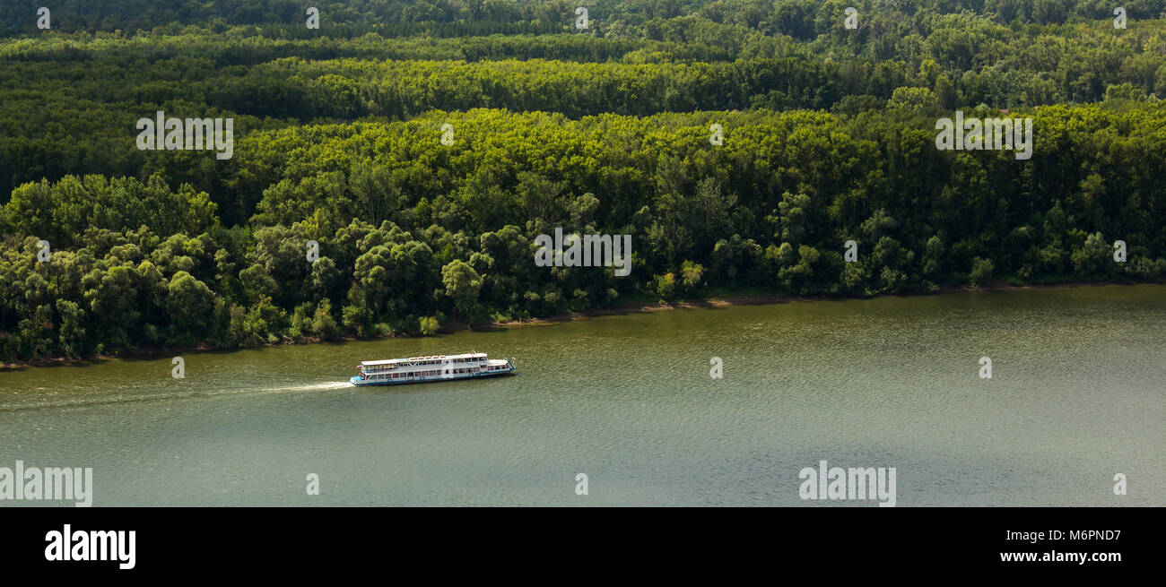 Motor ship on the river White Ufa - Stock Image