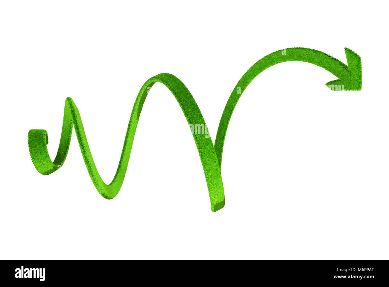 Green spiral arrow - Stock Image