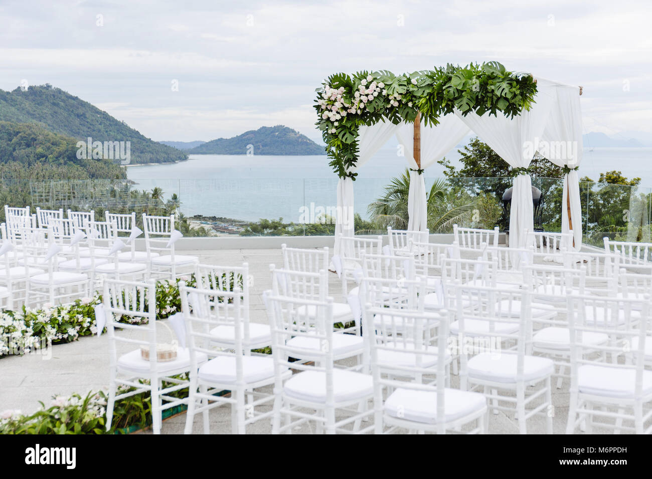 The Beach Wedding Venue Outdoor With The Ocean View In The Stock