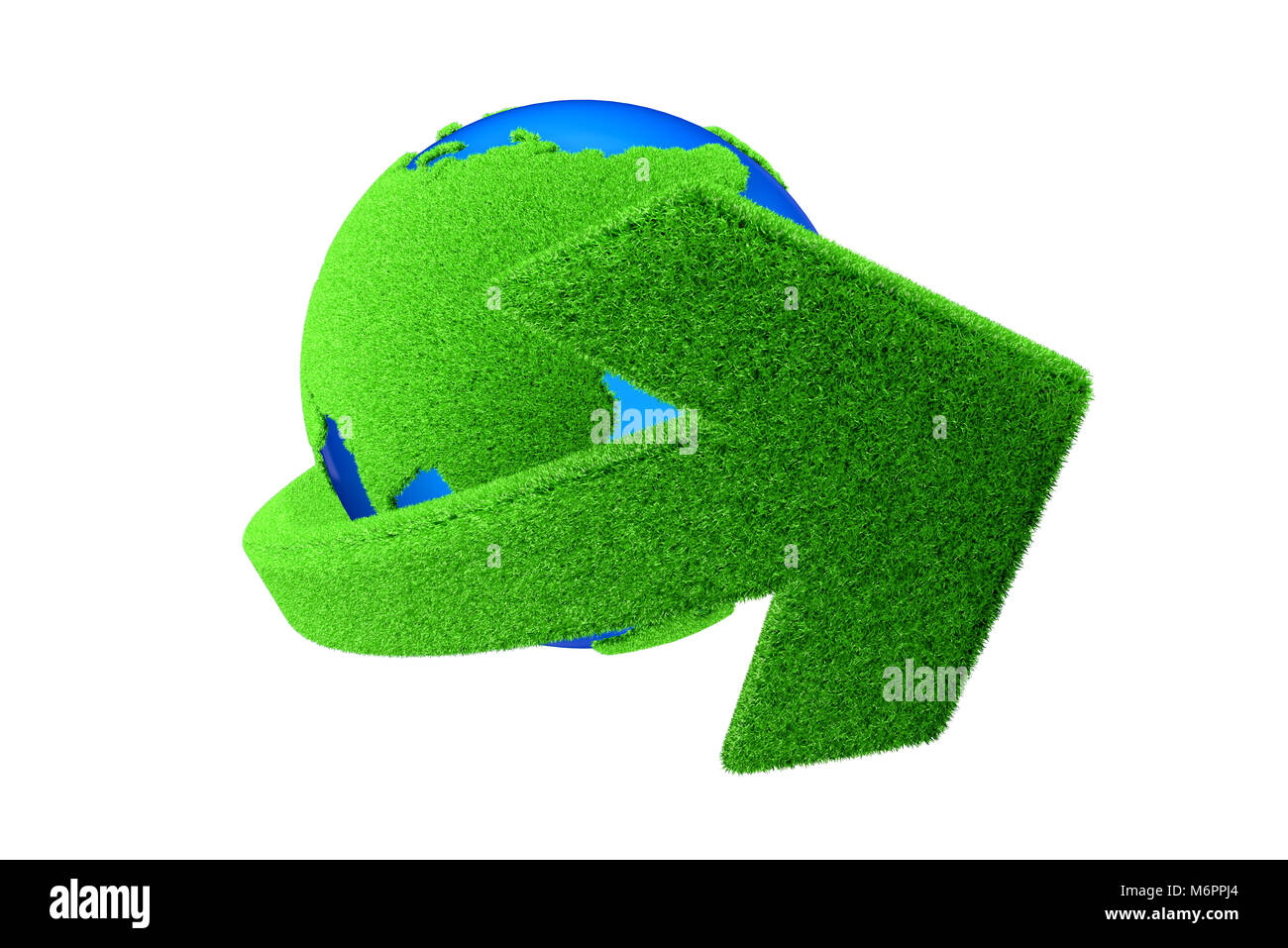 Green globe and green arrow - Stock Image