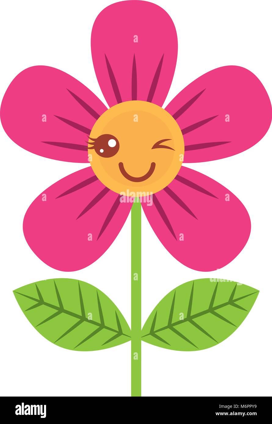 Beautiful flower wink kawaii cartoon vector illustration stock beautiful flower wink kawaii cartoon vector illustration izmirmasajfo
