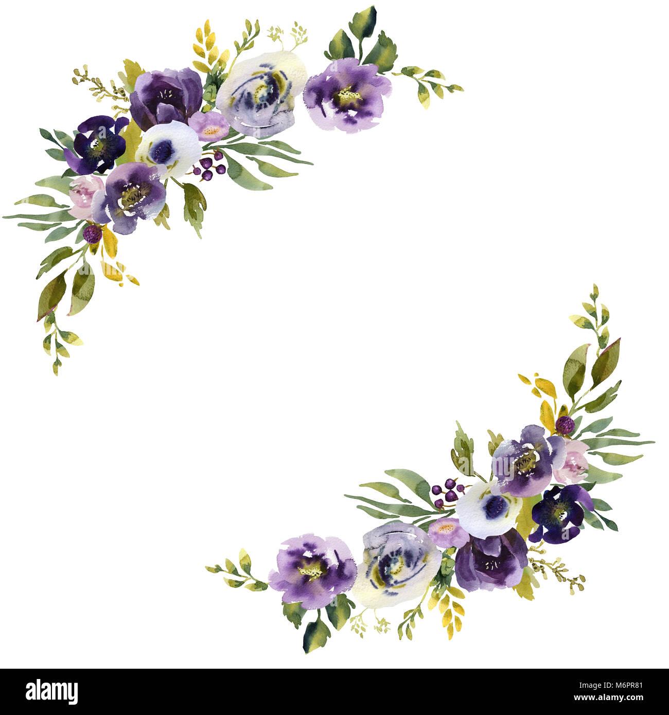Wedding Purple Flowers: Wedding Frame Wreath Green And Purple Flowers Ornament