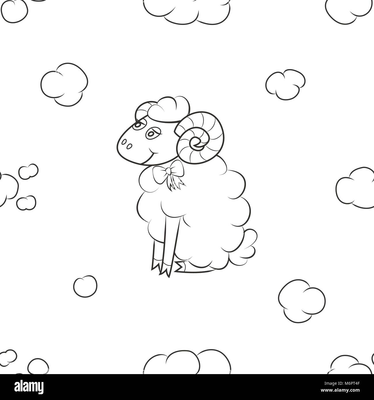 Sheep fly in the sky. - Stock Vector