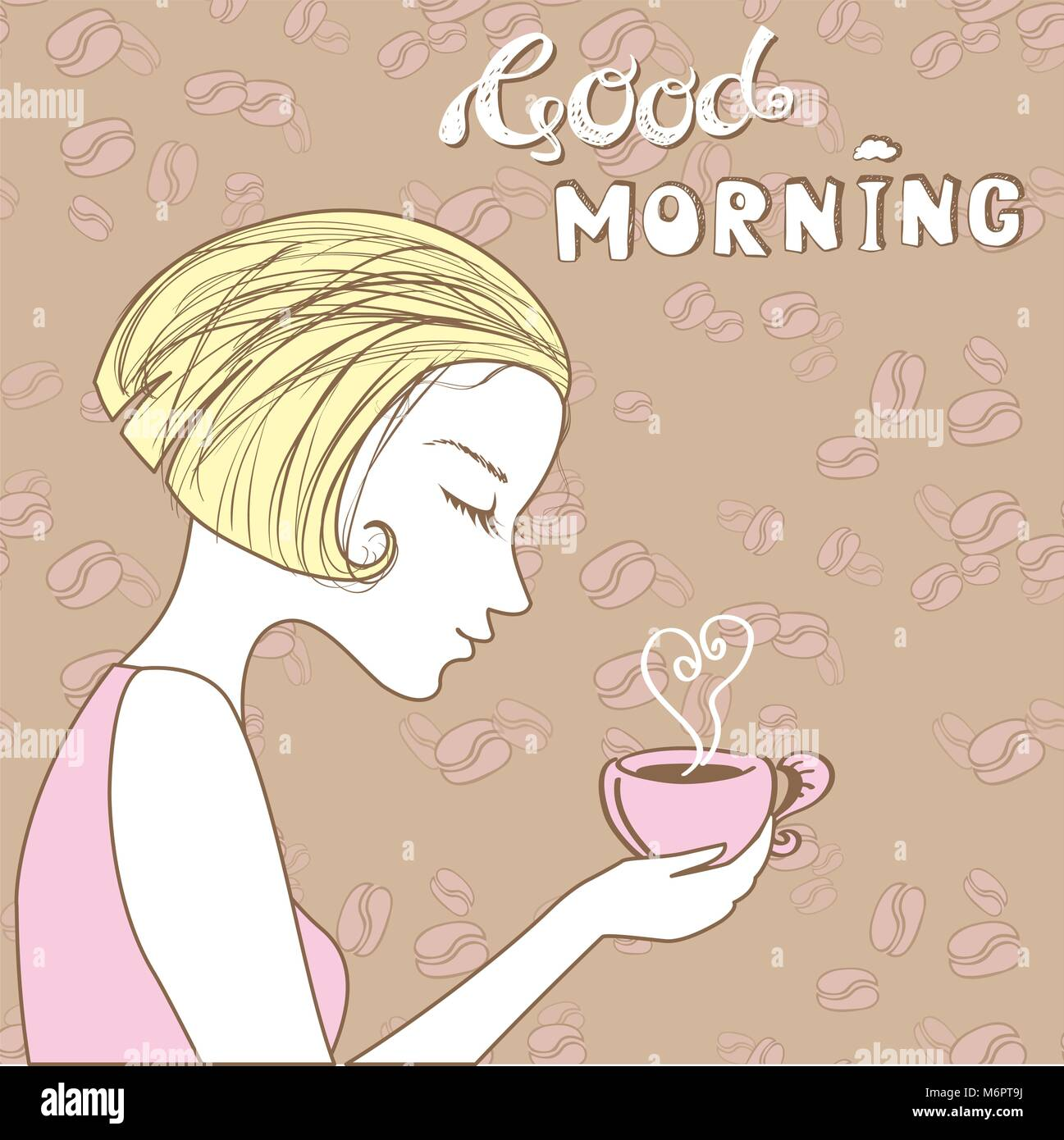 Beautiful Girl With A Cup Of Coffee Good Morning Vector Stock