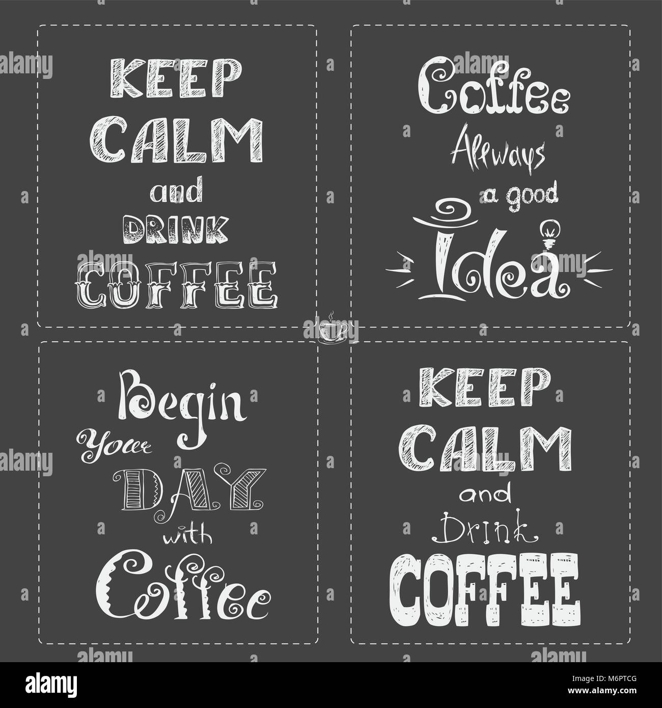 Set Coffee Banner Or Typographylettering Hand Drawn Chalkboard Gray Background Stock Vector Illustration