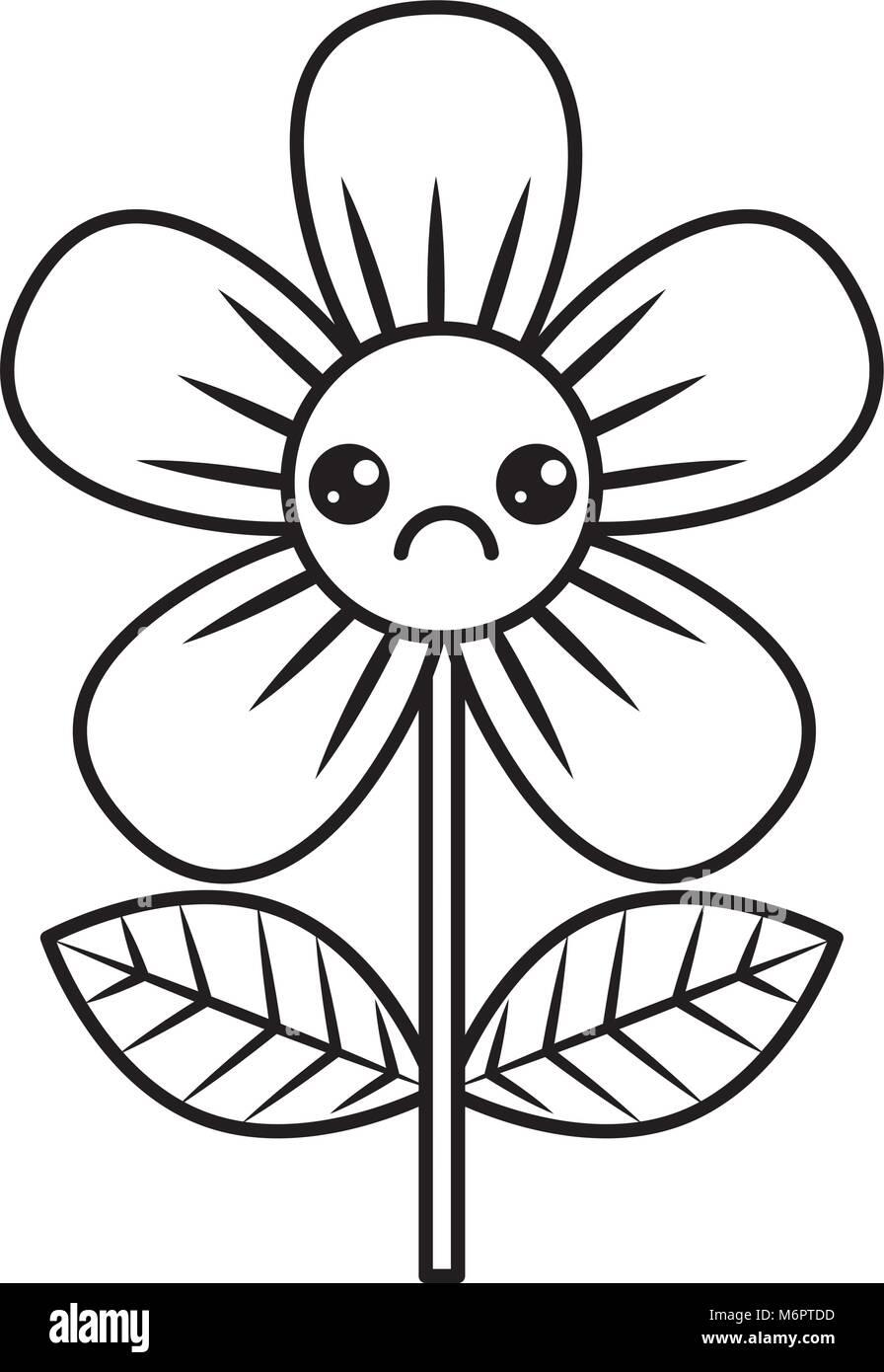 Beautiful sad flower kawaii cartoon vector illustration thin line beautiful sad flower kawaii cartoon vector illustration thin line design izmirmasajfo